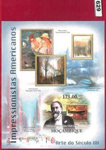629 - MOZAMBIQUE -   IMPERF SHEET: American Impressionists, Berthelsen ART  2011
