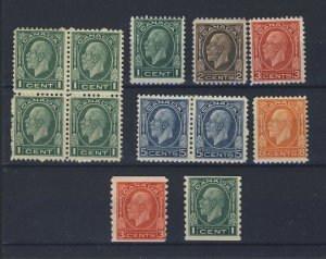 12x Canada Cameo George V Stamps 4x1c 195-196-197-199 Pair-200-205-207 GV=$85.00