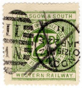 (I.B) Glasgow & South Western Railway : Letter Stamp 2d (London postal cancel)