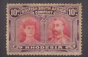 RHODESIA: Double Head Issue 10p #110 Mint NG HR some staining STILL NICE!!! VF!