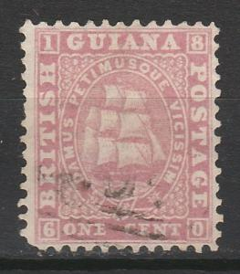 BRITISH GUIANA 1860 SHIP 1C ROSE USED