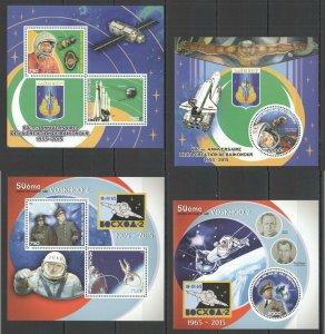 PE949-950 2015 BENIN SPACE BAIKONUR YURI GAGARIN VOSKHOD 2 SPUTNIK 1 2KB+2BL MNH