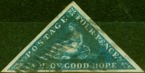 Cape of Good Hope 1855 4d Deep Blue SG6 Good Used