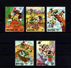 BHUTAN - 1985 - DISNEY - MICKEY - DONALD - TWAIN - TRAMP ABROAD ++ 5 X MNH SET!