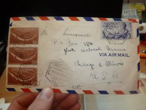 Spanish Guinea 60c fish x 3 + 5P 1958 A/M cover to USA  (68bef)