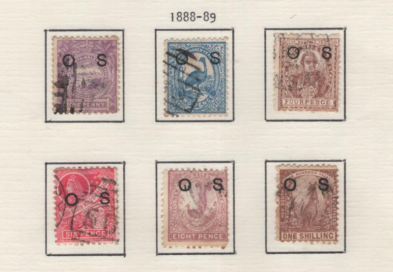 New South Wales 1888 - 9  Queen Victoria OVP Official Set 6 Stamps  Scott O24-9