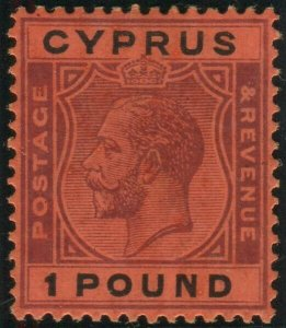 CYPRUS-1924-28 £1 Purple & Black Red. A mounted mint example Sg 102