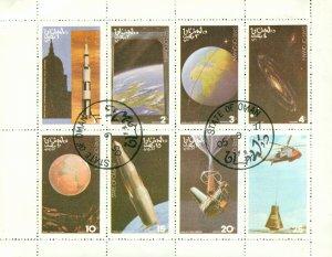 RK5-0055 OMAN CTO SHEET OF 8 SPACE STAMPS BIN $4.00