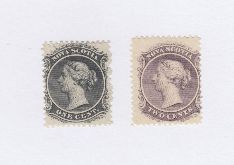 NOVA SCOTIA # 8+9 MNG/MH 1,2cts QUEEN VICTORIA BLACK & LILAC  CAT VALUE $40