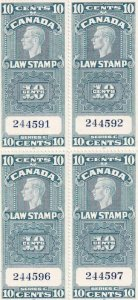 Canada: Law Stamp Plate Blk/4, Van Damm #FSC21, MNH (42862)