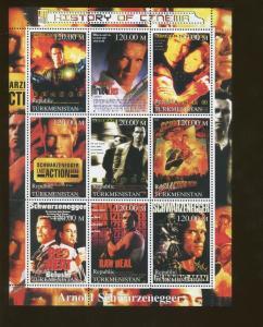 Turkmenistan Arnold Schwarzenegger Cinema Commemorative Stamp Souvenir Sheet