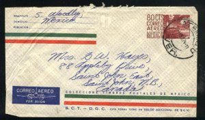 Mexico 80 cts Imprinted aero envelop u 1974 PD