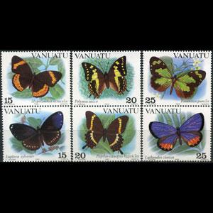 VANUATU 1983 - Scott# 346-8 Butterflies Set of 6 NH