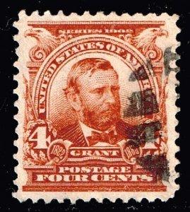 US STAMP #303 – 1903 4c Grant, brown USED XFS SUPERB