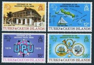 Turks & Caicos 293-296,MNH.Michel 335-338. UPU-100,1974.Map,Sailing ships,Horn.