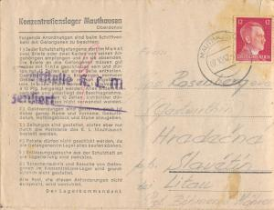 1942 Germany Letter Cover from Mauthausen Concentration Camp KZ Zden Volouch