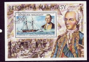 Madagascar Malagasy-Sc#C167-used Airmail sheet-Ships-American Bicentennial-1975-