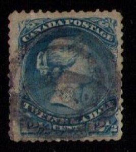 CANADA Sc 28 Queen Victoria (1868) 12-1/2c Used Blue F-VF Cat.Value $100
