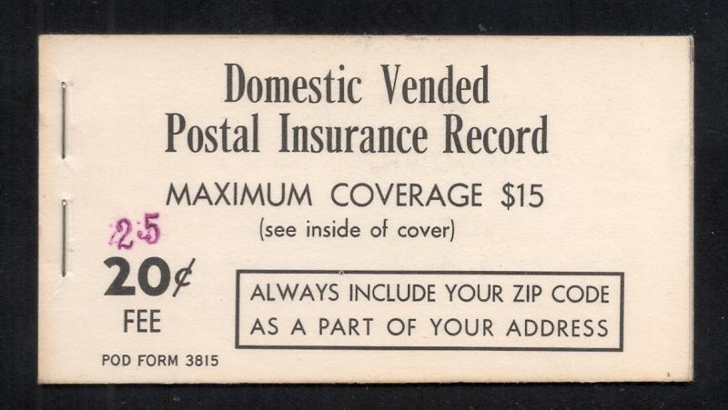 US#QI2 - Postal Insurance Booklet - Type II - Revalued - Complete