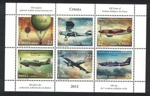 Serbia Centenary of Serbian Military Air Force Sheetlet of 6v SG#585-590