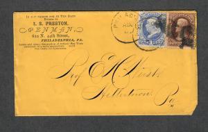 US Sc#134+146 On Adv Cover Preston Penman Philly, Crowe Cert