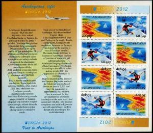 HERRICKSTAMP AZERBAIJAN Sc.# 982a Europa 2012 Tourism Stamp Booklet