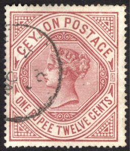 Ceylon 1887 1r12 Dull Rose WATERMARK UPRIGHT SG 201b Sc 142var VFU Cat £70($99)