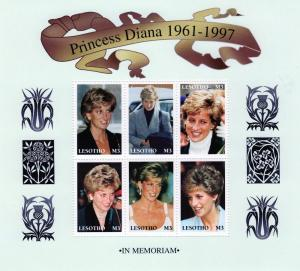 Lesotho 1998 Diana Princess Shlt (6) +1 SS MNH Sc #1089/90