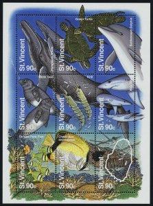 St Vincent 2178 MNH Marine Life, Whale, Turtle, Fish, Coral, Shipwreck