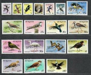 $St. Kitts Sc#49-66 M/NH/VF Specimen Birds, Cv. $60