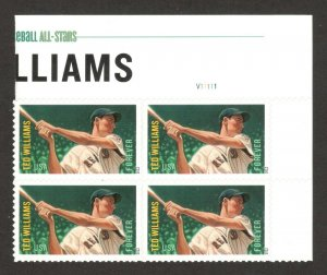 4694 Ted Williams Top Plate Block Mint/nh FREE SHIPPING