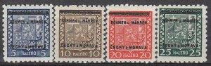 Stamp Germany Bohemia Czech Mi 001-5 Sc 00-4 1940 WWII Fascism MNH