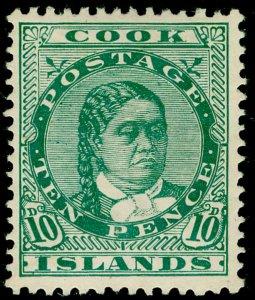 COOK ISLANDS SG45, 10d green, LH MINT. Cat £38.