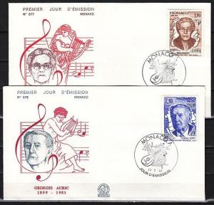 Monaco, Scott cat. 1473-1474. Composers-Music Year issue. First day cover.