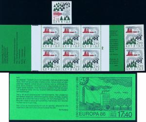 SWEDEN 1605-06, 1606a, Europa Issue. Single and Booklet. MNH