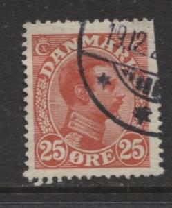 Denmark - Scott 108 - King Christian X Issue -1922 - Used - Single 25o Stamp