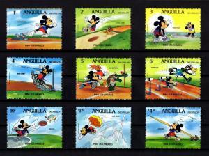 ANGUILLA - 1984 - DISNEY - MICKEY - OLYMPICS - DECATHLON - 9 X MINT - MNH SET!