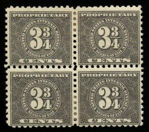 B276 U.S. Revenue Scott RB40 3-3/4 Cents Block of 4, mint OG, SCV = $400