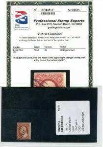 #10A  1851 Washington ORANGE BROWN  with PSE cert  cv$160.00