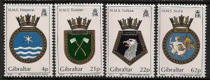 GIBRALTAR 1991 , Royal Navy Crests Stamp - MNH set # 587-590