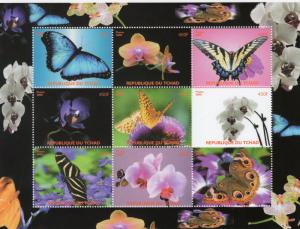 Chad 2008 Butterflies & Orchids Sheetlet (9) Perforated MNH