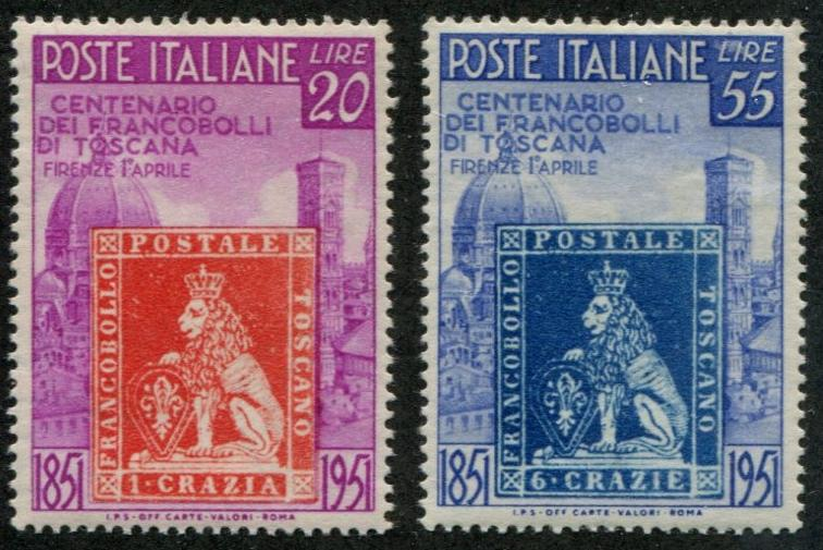 Italy SC# 568-9 1851 Stamp of Tuscany's First Issue set MNH
