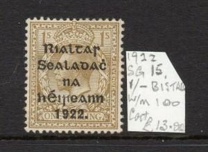 Ireland GV 1922 Early Issue Fine Mint Hinged 1S. Optd 303886