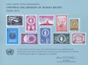 UN #4 SOUVENIR CARD - HUMAN RIGHTS 1973 - Mint