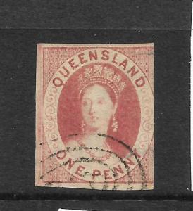QUEENSLAND 1860  1d  CARMINE ROSE  QV IMPERF FU  SG 1