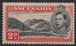 Ascension Island 1938 - 53 KGV1 2d Black & Vermilion MM SG 41a ( A1461 )