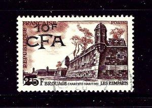 Reunion 317 Used 1955 overprint
