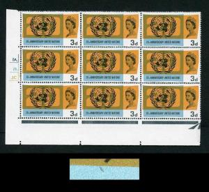 Spec W77d 1965 3d United Nations with Retouch (R18/3) Cyl Block of 9 U/M