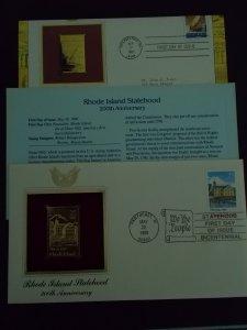 Rhode Island Statehood FDC  w/ Gold Replica Stamp