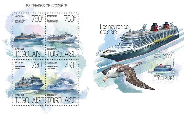 Cruise Ships Schiffe Sea Water Transport Togo MNH stamp set